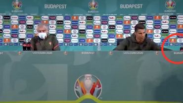 Cristiano Ronaldo na konferencji prasowej przed meczem Węgry - Portugalia (Euro 2020). Źródło: Twitter