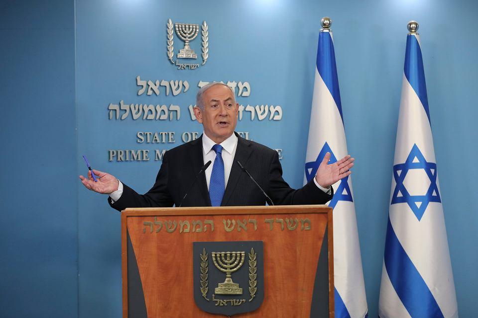 Premier Izraela Benjamin Netanjahu zapowiada nawiązanie pełnych stosunków dyplomatycznych ze Zjednoczonymi Emiratami Arabskimi, 13 sierpnia 2020 r.