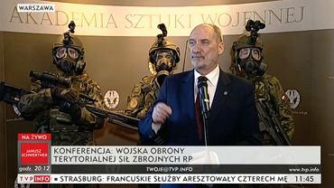 Minister Antoni Macierewicz podczas konferencji dot. Wojsk Obrony Terytorialnej