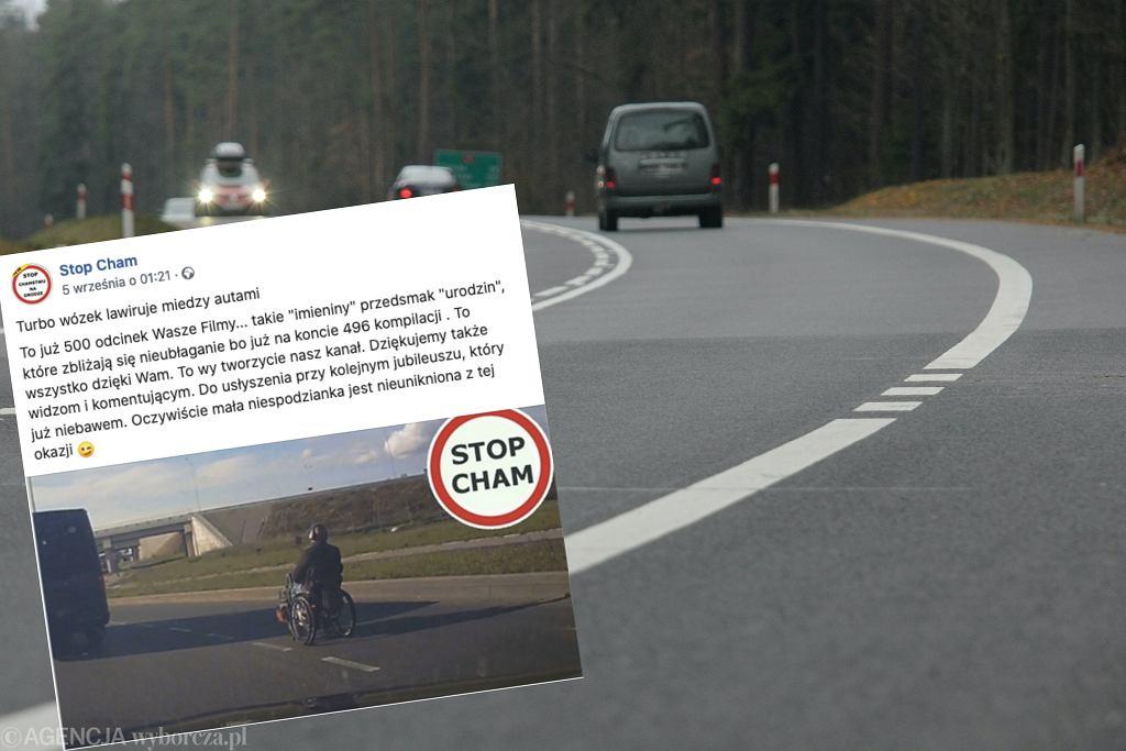 Wrocław. Turbowózek inwalidzki na drodze. Manewrował między samochodami z prędkości nawet 50 km/h