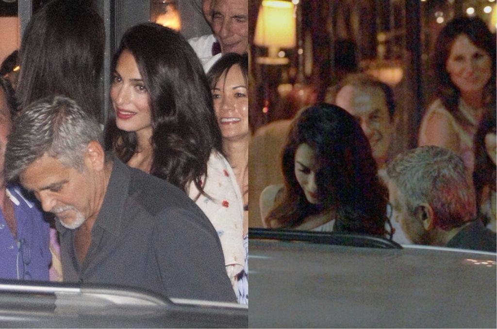 Amal i George Clooneyowie ze znajomymi w restauracji nad jeziorem Como