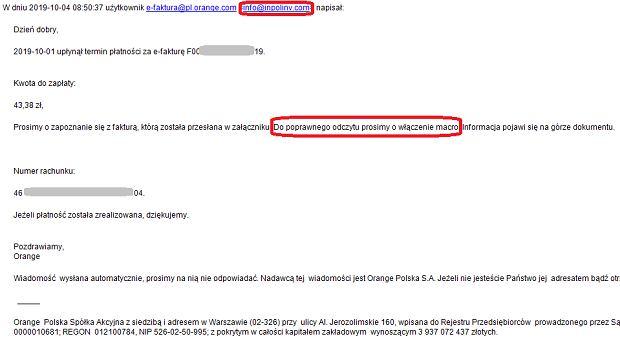 Przykład faktury wysyłanej przez oszustów do klientów Orange