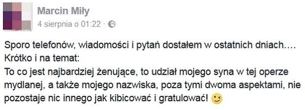 Wpis na profilu Marcina Miłego
