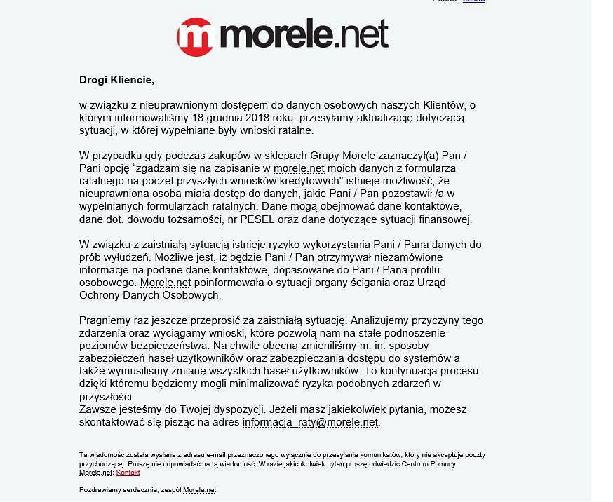 Takie wiadomości trafiły do wybranych klientów Morele.net