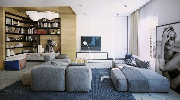 Wnętrza: nowoczesne mieszkanie w szarościach i błękitach