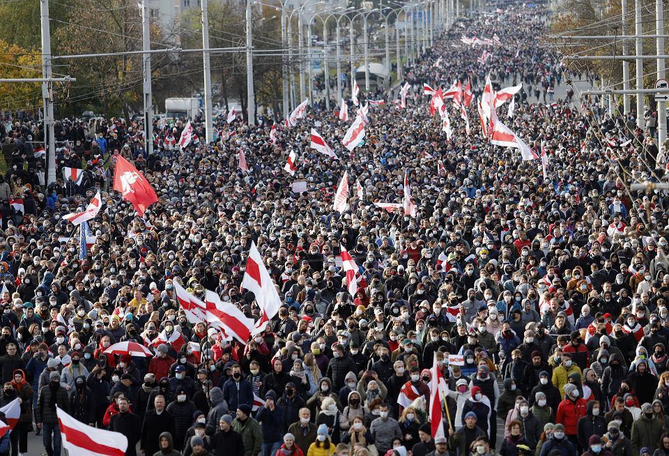 Protest w Mińsku, 18 października 2020 r.
