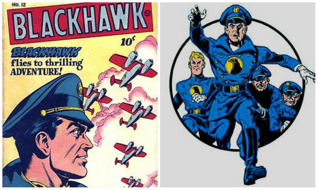 Okładka 12. numeru 'Blackhawk' (jesień 1946) / Blackhawk, ilustracja: Reed Crandall / 1946 Quality Comics /  2001 DC Comics