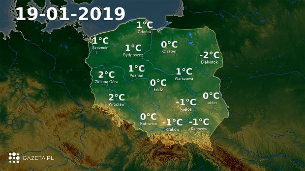 Mapa temperatury 19.01.2019
