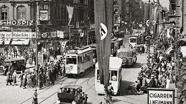 Breslau, 1937 r. Swastyki przy Gartenstrasse (dzisiejsza ul. Piłsudskiego)