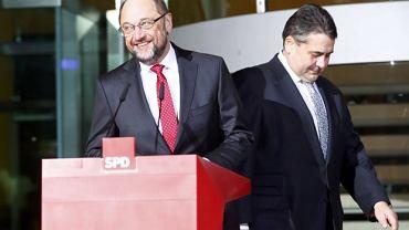 Kandydat SPD na kanclerza Martin Schulz i lider socjaldemokratów Sigmar Gabriel