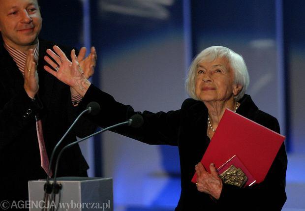 Danuta Szaflarska odbiera nagrodę dla najlepszej aktorki na festiwalu filmowym w Gdyni w 2007 roku