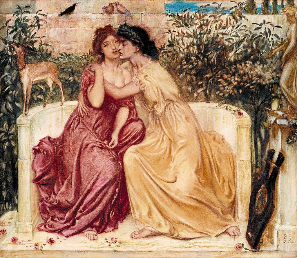 / Solomon, Simeon 1840-1905 Sappho and Erinna in a Garden at Mytilene 1864 Tate.