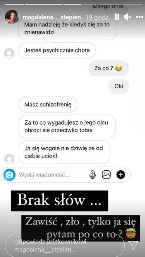 Magdalena Stępień publikuje wiadomość od hejtera