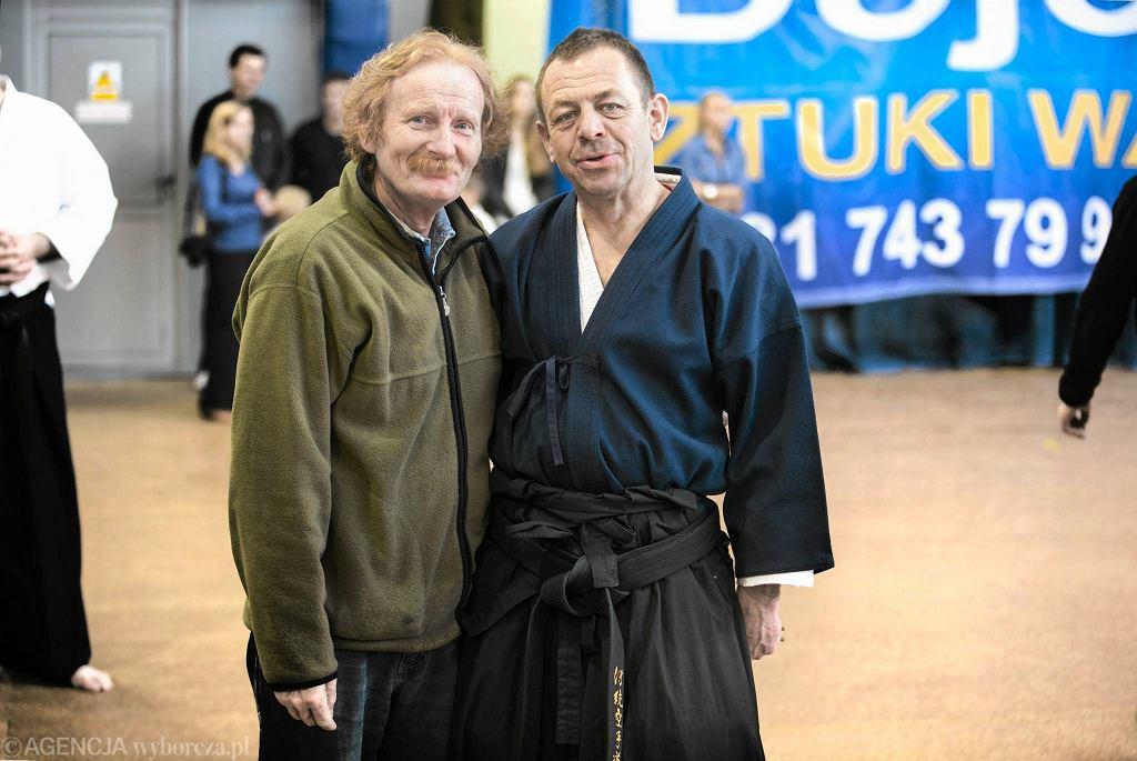 Lublin 21014. Finał Polskiej Ligi Karate. Członek zarządu PZTK, jeden z najlepszych sędziów na świecie Józef Rączka i red. Wiesław Pawłat (z lewej)