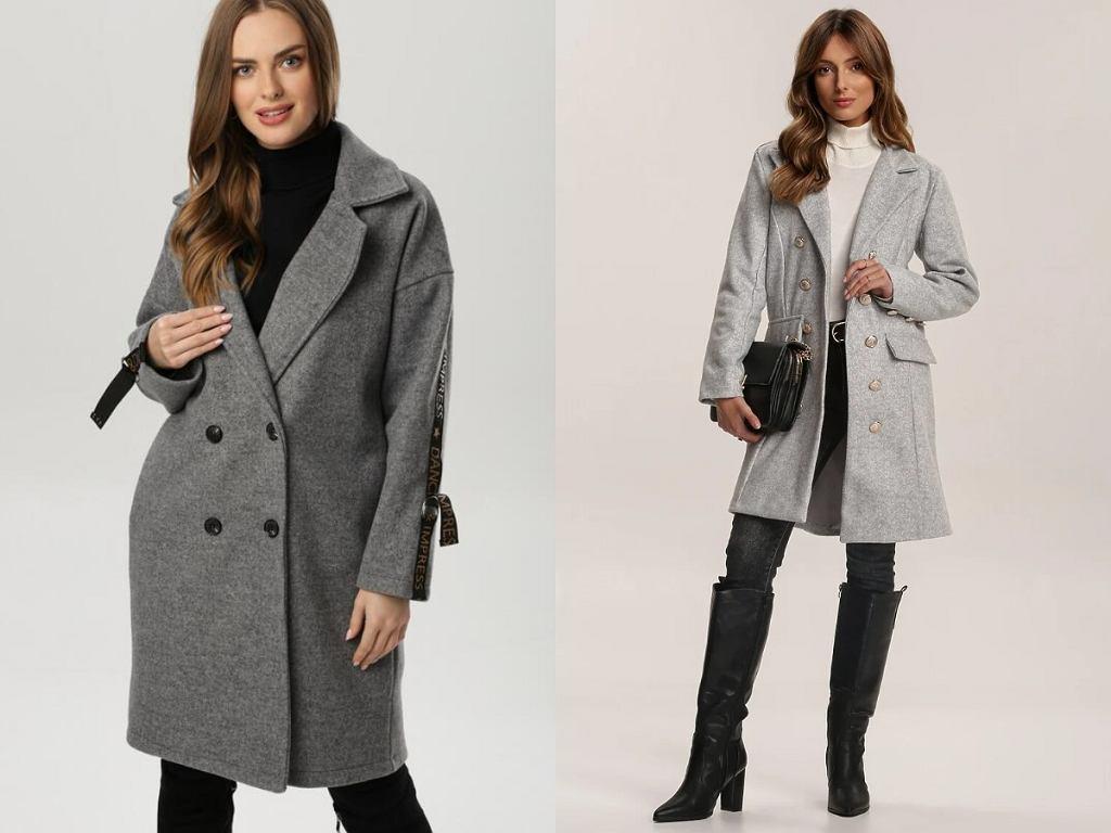 Szary klasyczny płaszcz damski