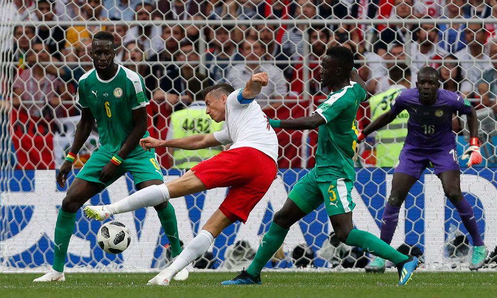 Robert Lewandowski w meczu Polska-Senegal. Mistrzostwa Świata w Piłce Nożnej w Rosji, Moskwa, Stadion Spartaka, 19 czerwca 2018