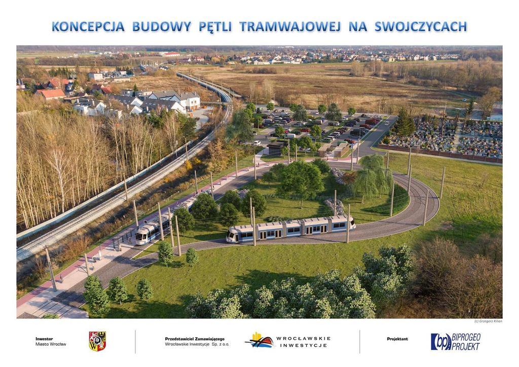 Projekt pętli tramwajowej przy nowej linii na Swojczyce.