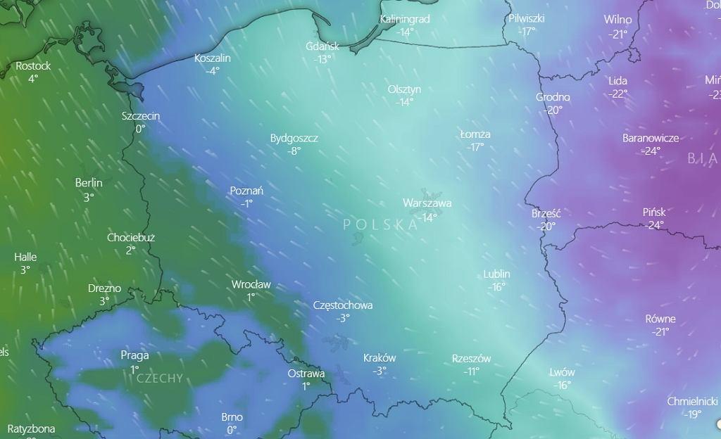Temperatura w nocy z czwartku na piątek 19 lutego 2021.