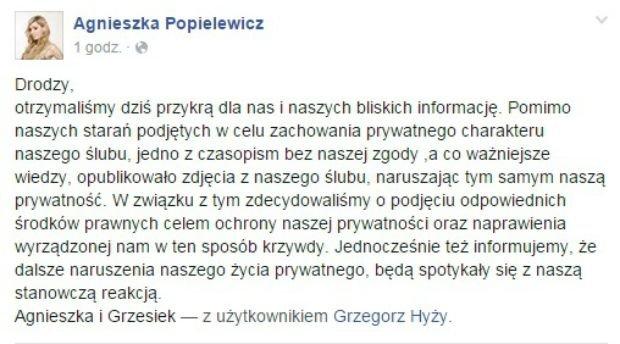 Wpis z Facebooka Agnieszki Popielewicz