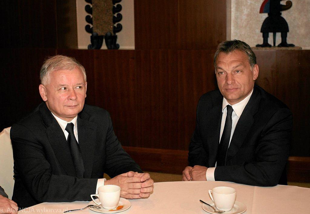 'Ukształtowanie się systemu typu orbanowskiego w Polsce wydaje się niemożliwe. Działania polskiego rządu są niepokojące, ale gdyby Kaczyński rzeczywiście chciał naśladować Orbána, po prostu poniósłby porażkę' - piszą węgierscy publicyści. Na zdjęciu Jarosław Kaczyński i Viktor Orban podczas spotkania w Warszawie, 2 czerwca 2010 r.