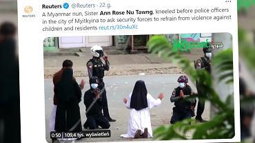 Mjanma. Zakonnica padła przed wojskiem na kolana i prosi: Zamiast dzieci zastrzelcie mnie!