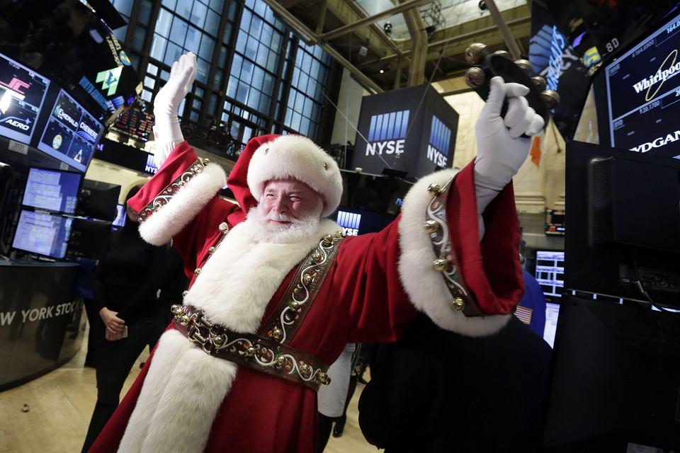 Święty Mikołaj na giełdzie w Nowym Jorku