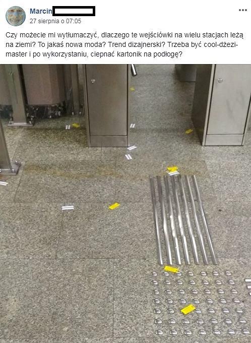 Wejściówki rozrzucone w metrze