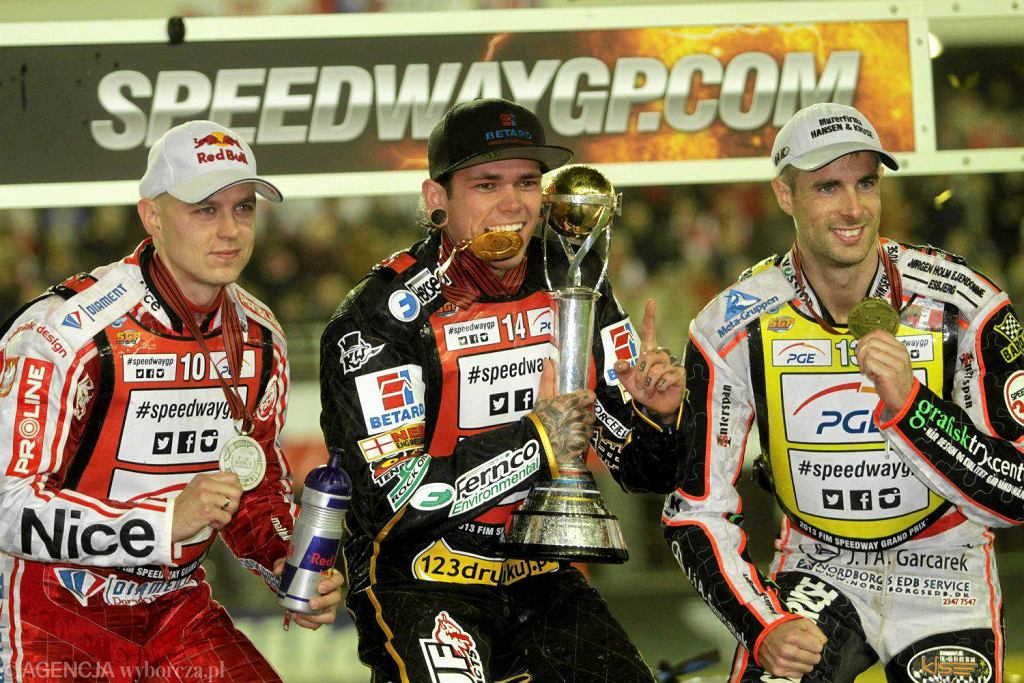 Jarosław Hampel, Tai Woffinden, Niels Kristian Iversen - trójka medalistów mistrzostw świata 2013
