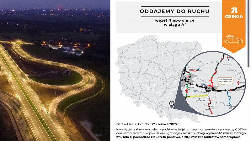 Autostrada A4 - węzeł Niepołomice oddany do ruchu