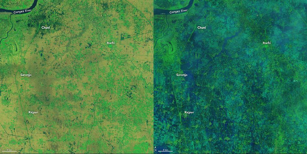 Zdjęcia pokazujące powódź wywołaną przez monsun w Indiach. Pierwsze z lewej zrobiono 28 czerwca, drugie - 14 lipca.
