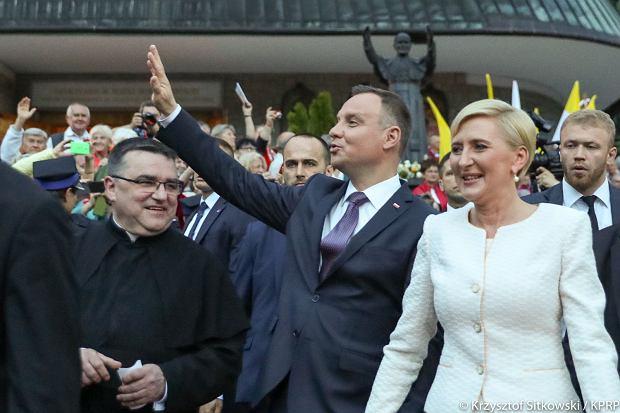 Agata Duda i Andrzej Duda na uroczystościach z okazji 100. rocznicy objawień fatimskich