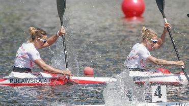 Mistrzostwa Europy w kajakarstwie, tor regatowy Malta w Poznaniu. Na zdjęciu Karolina Naja i Anna Puławska, które zdobyły srebrny medal w konkurencji K2 na 500 metrów