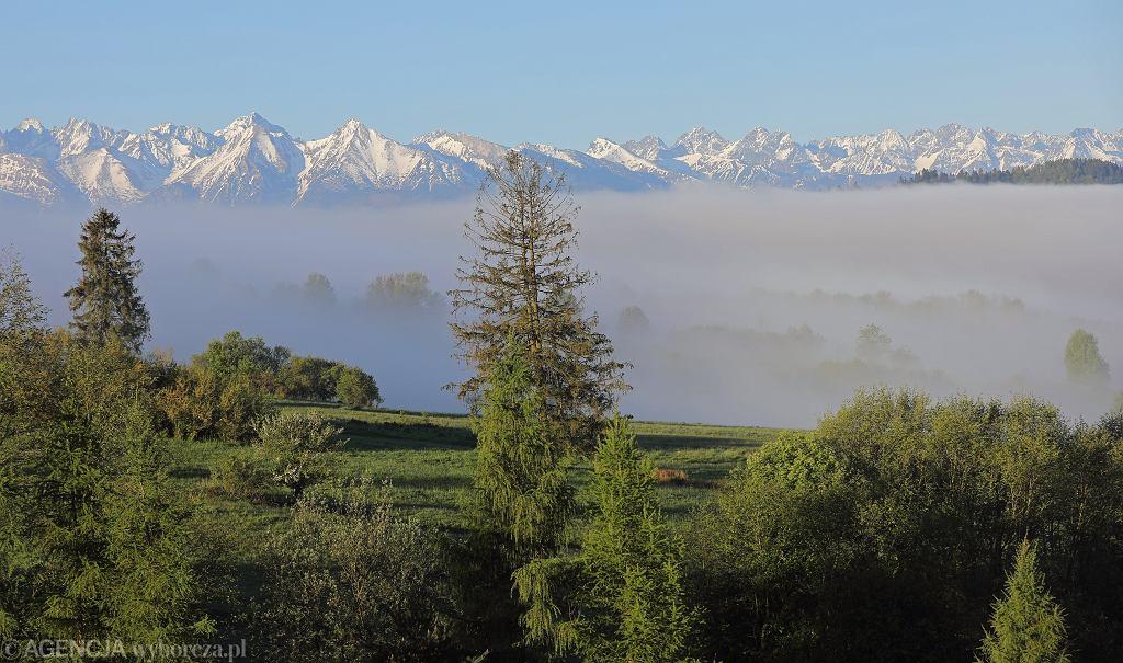 Mgły nad Zalewem Czorsztyńskim, w tle widoczne Tatry
