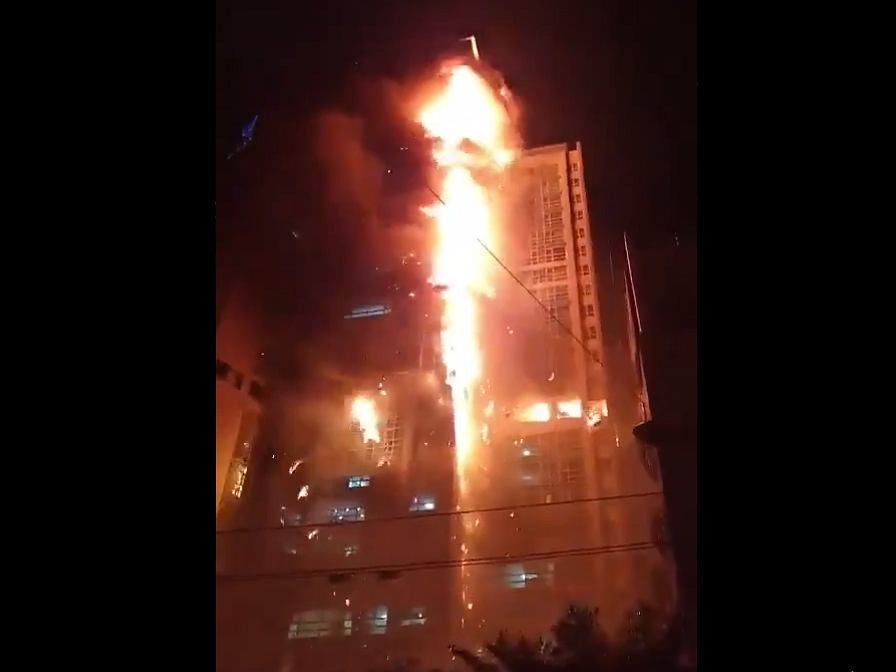 Pożar wieżowca w Ulsan