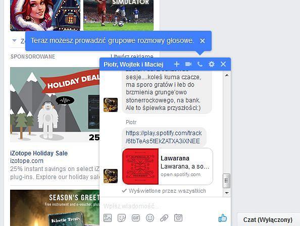 Grupowe rozmowy głosowe w stacjonarnym Facebooku