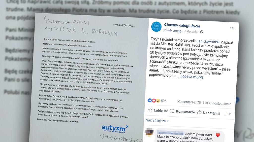13-letni chłopiec ze spektrum autyzmu napisał list do minister rodziny, pracy i polityki społecznej. Poprosił ją o spotkanie