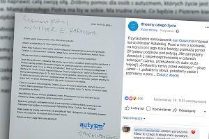 """13-letni Janek napisał poruszający list do minister Rafalskiej. Prosi ją o spotkanie. """"W sercu mam osoby z autyzmem"""""""