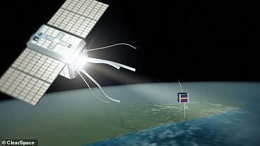 Odkurzacz ClearSpace-1 (po lewej) zbliża się do kosmicznego śmiecia. Wizja artysty