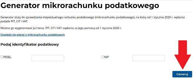 Mikrorachunek podatkowy można wygenerować na stronie Ministerstwa Finansów