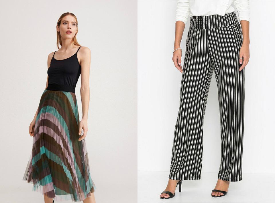 spodnie i spódnice w paski
