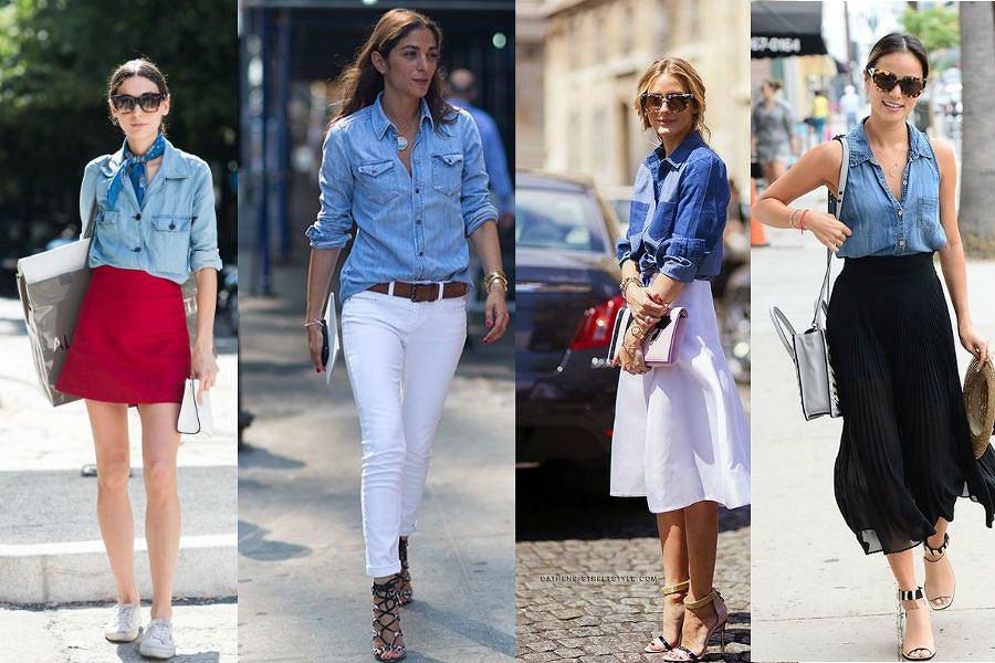 Jeansowa koszula w czterech różnych odsłonach