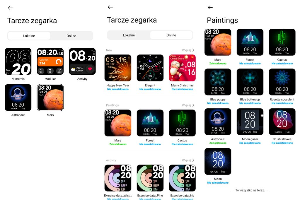 Zrzuty ekranu z aplikacji Xiaomi Wear