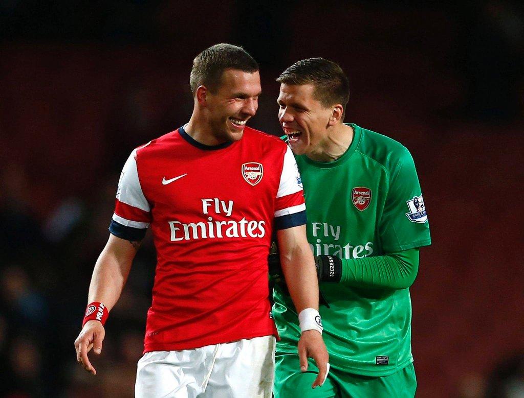 Lukas Podolski i Wojciech Szczęsny