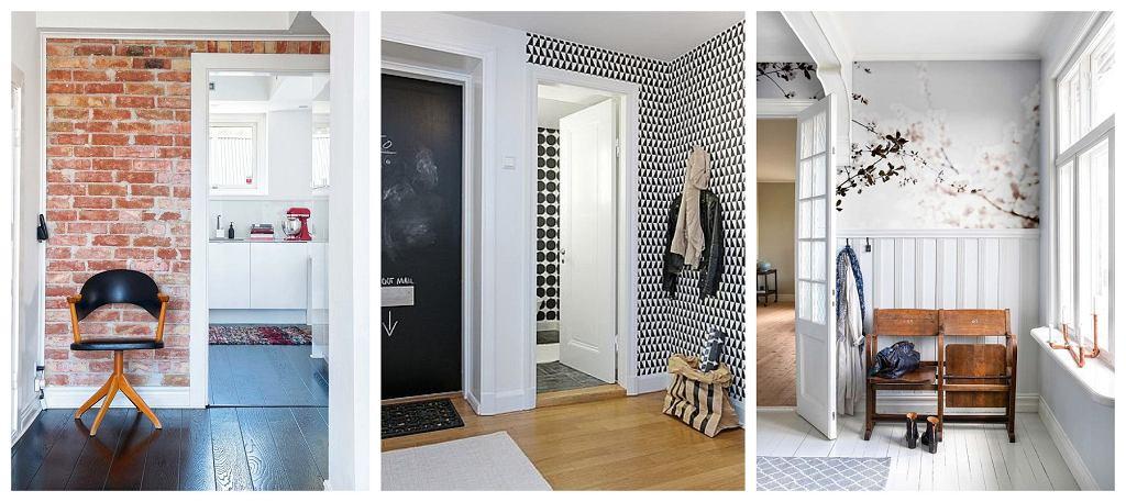 Ściany w przedpokoju - pomalowane cegły, tapeta, boazeria i fototapeta.