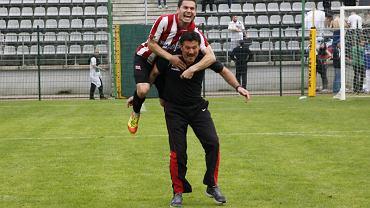 Tak cieszyli się piłkarze Cracovii z awansu do ekstraklasy