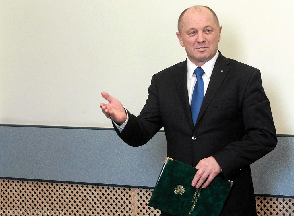 Marek Sawicki podczas konferencji nt. sytuacji w polskim rolnictwie. Warszawa, 23 marca 2015