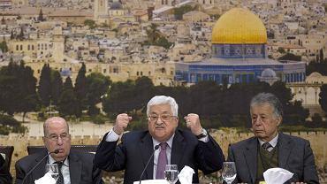 Prezydent Palestyny Mahmud Abbas podczas konferencji prasowej. Ramallah na Zachodnim Brzegu, 14 stycznia 2018 r.