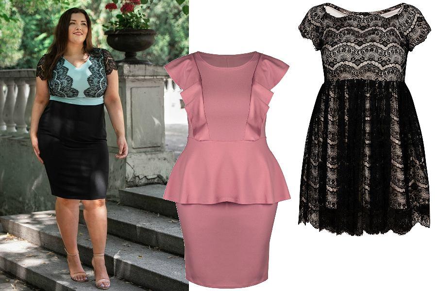 Sukienki w rozmiarze plus size nie muszą być nudne! Wybierz model z baskinką lub koronkowy.