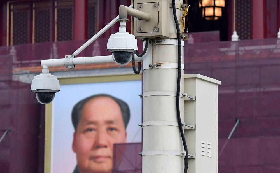Kamery bezpieczeństwa na placu Tiananmen w Pekinie.