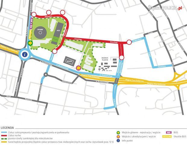 Mapa utrudnień w ruchu drogowym dla Katowic na czas trwania COP24